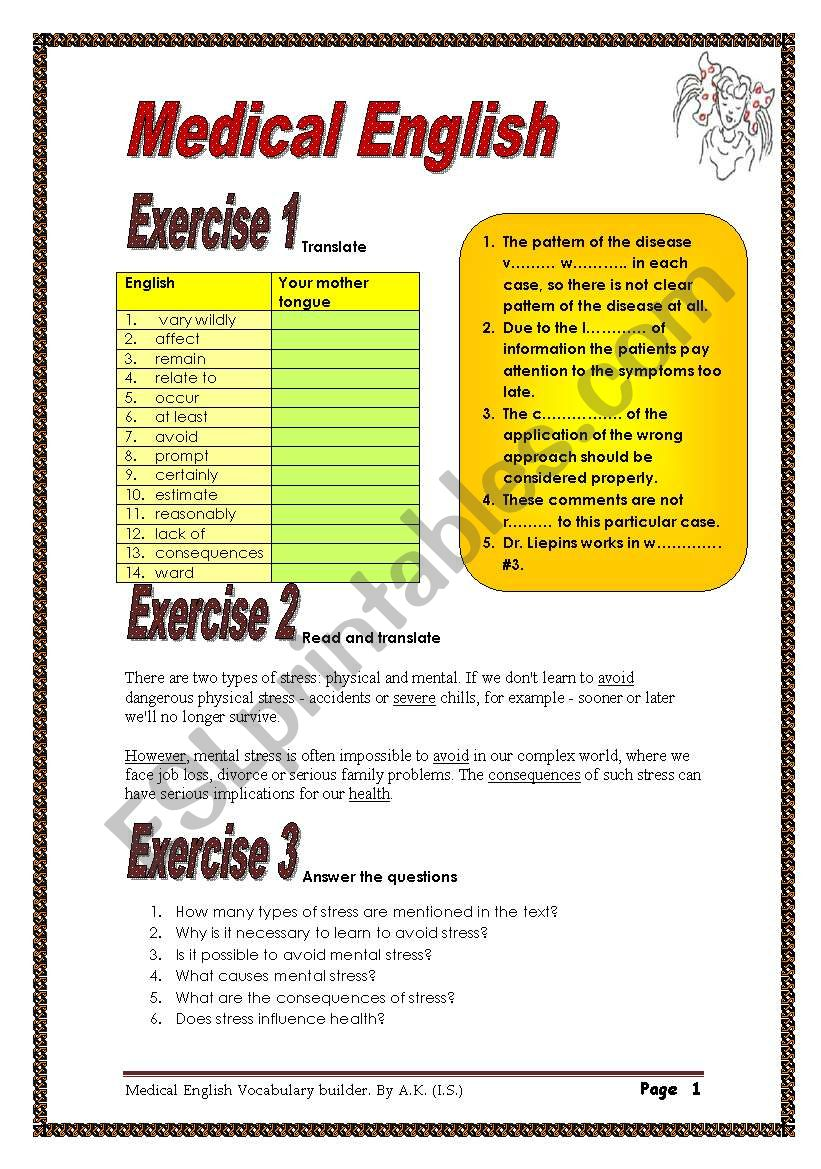 5 pages/12 exercises Medical English Vocabulary builder.