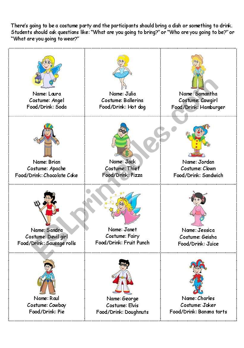 Costume Party 1 worksheet