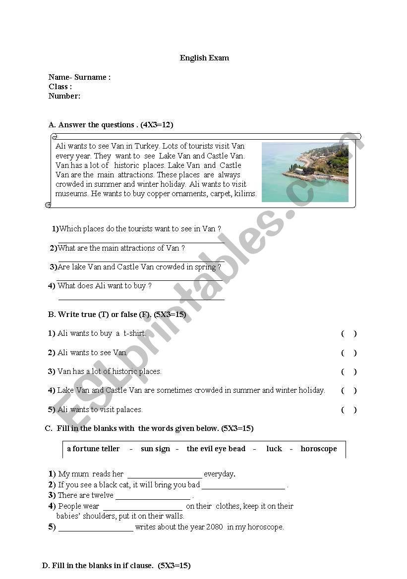 an exam  worksheet