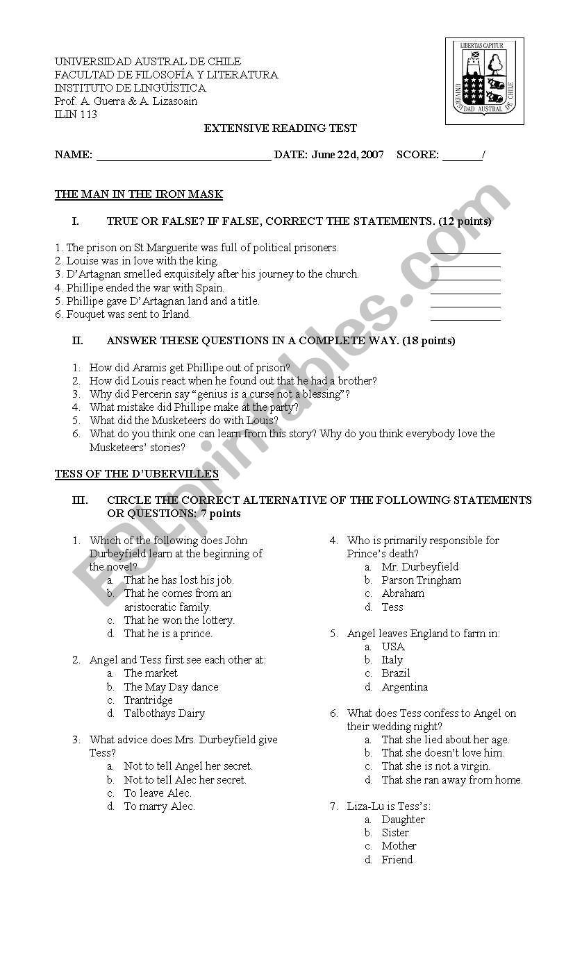 English worksheets: Man in the Iron man test