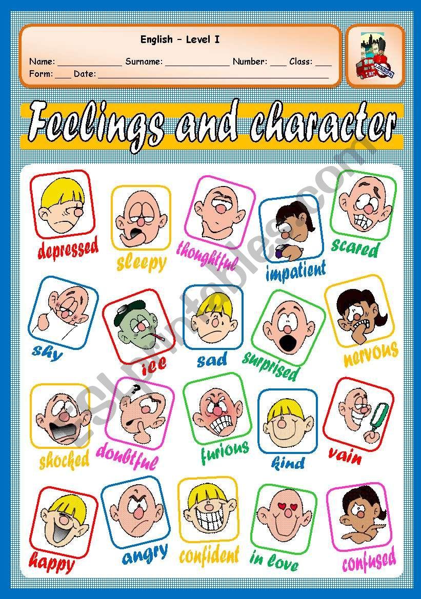 FEELINGS AND CHARACTER worksheet