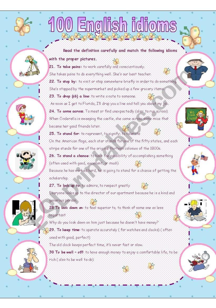 essential idioms worksheet