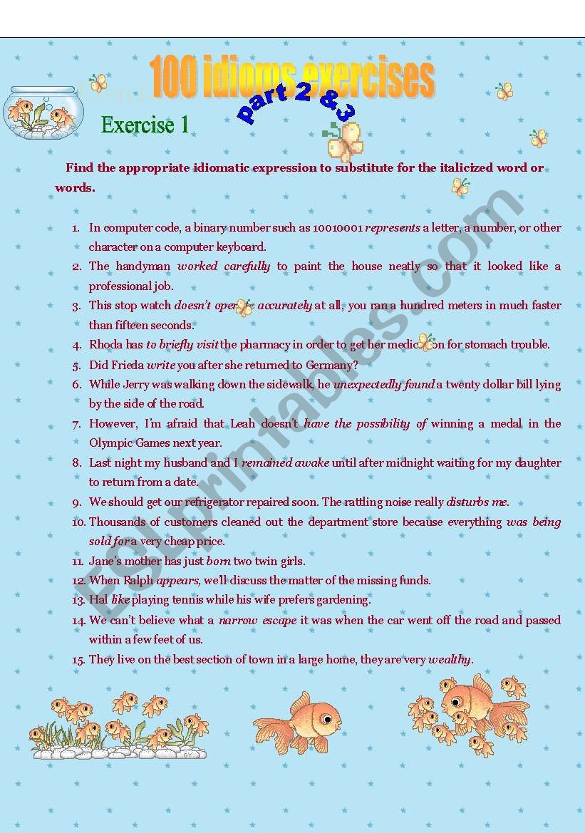 Exercise for idioms part 2&3 worksheet