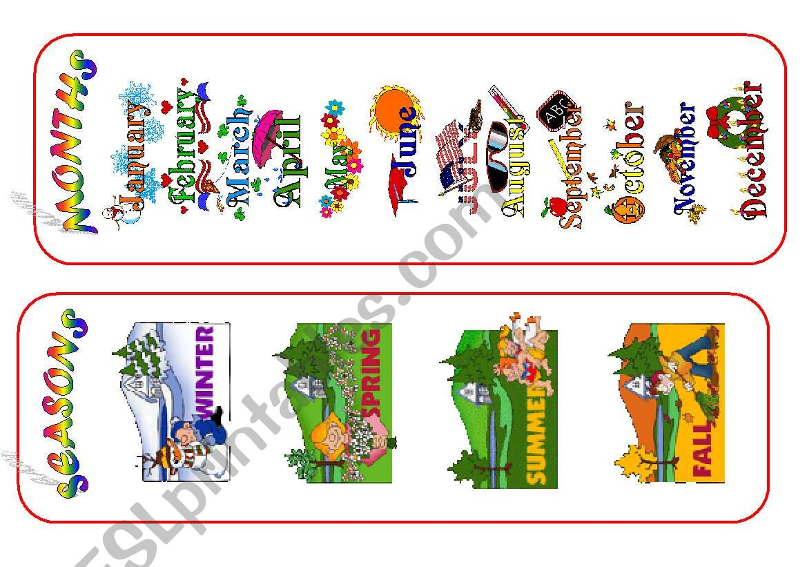 MONTHS and SEASONS /bookmarks/