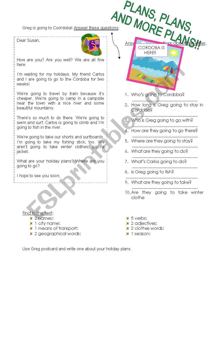 Plans for next holidays worksheet