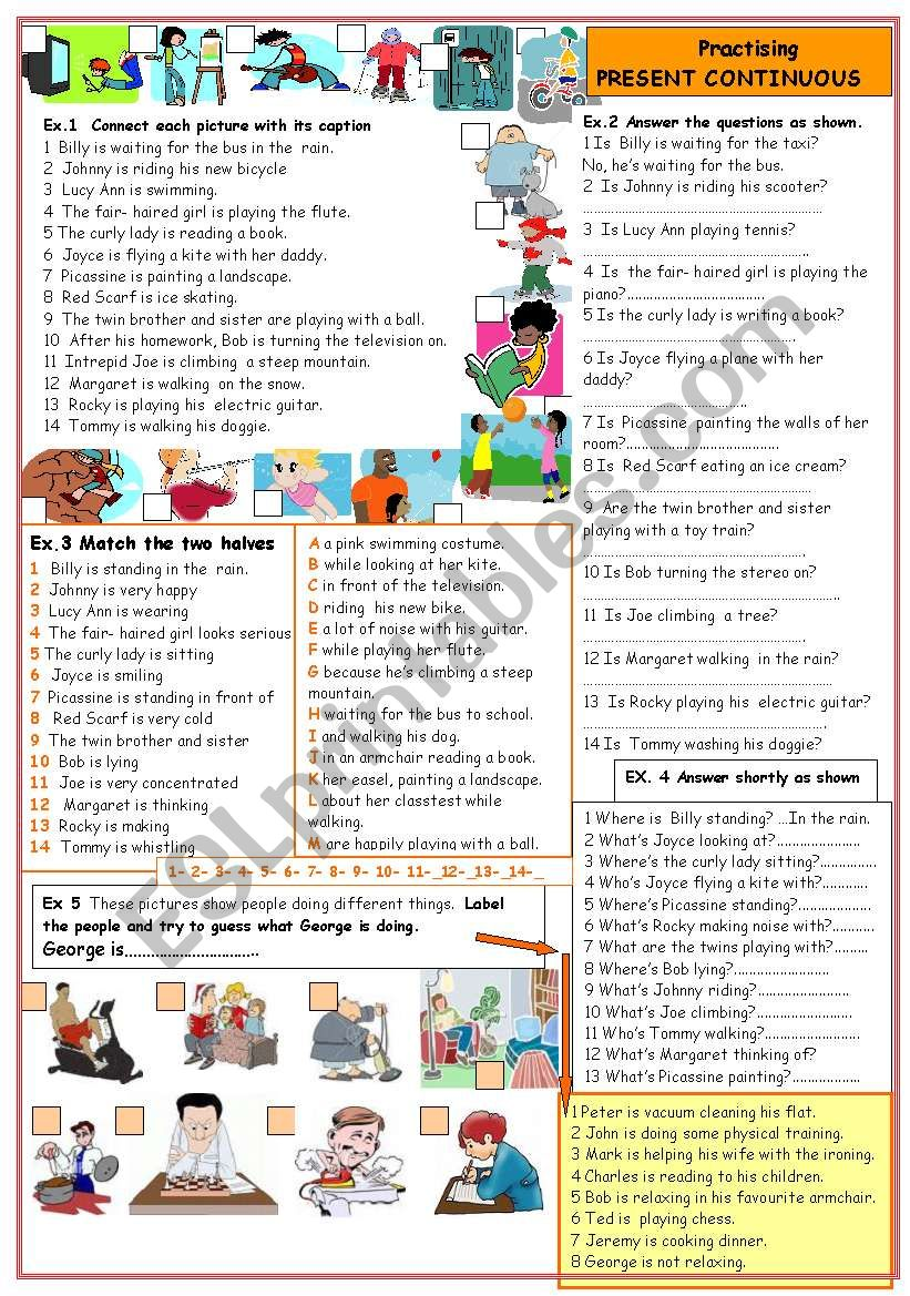 Practising present continuous worksheet