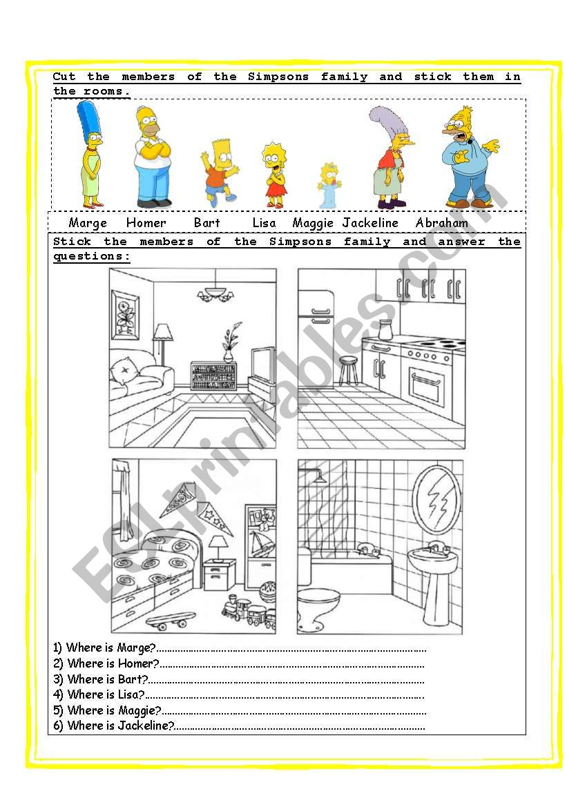 the simpsons parts of the house prepositions of place esl worksheet by naty1776. Black Bedroom Furniture Sets. Home Design Ideas