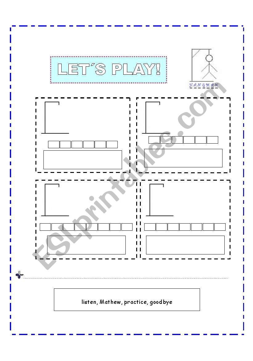 Game HANGMAN - ESL worksheet by Carmenlpk