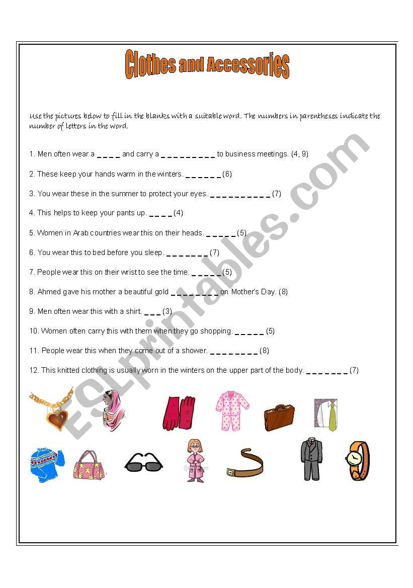 Clothes and Accessories worksheet