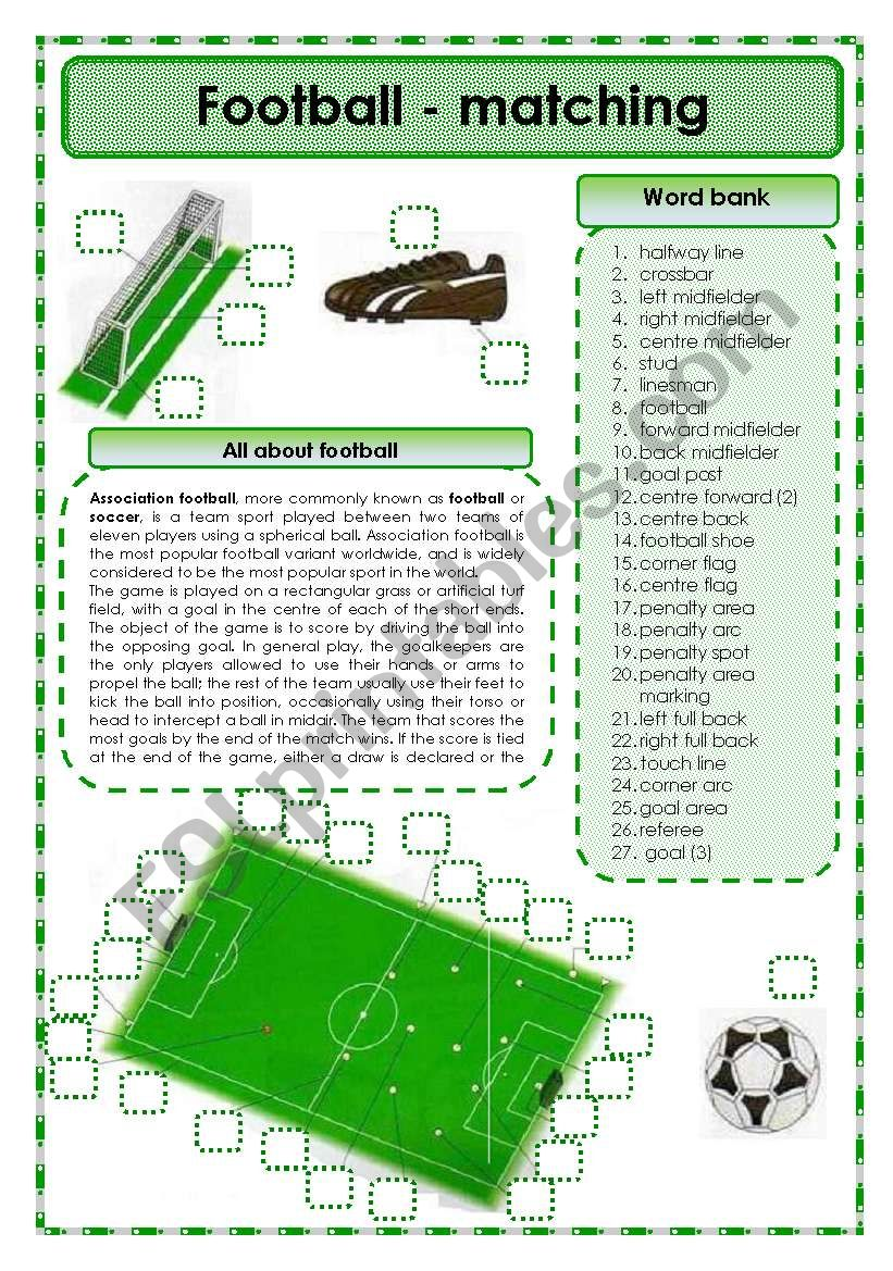 Football - matching exercise worksheet