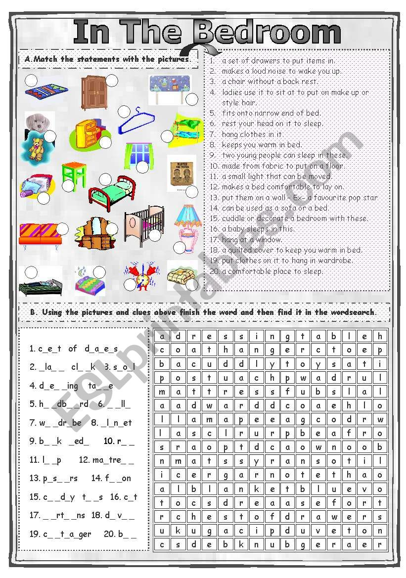 Match & Find - In The Bedroom worksheet