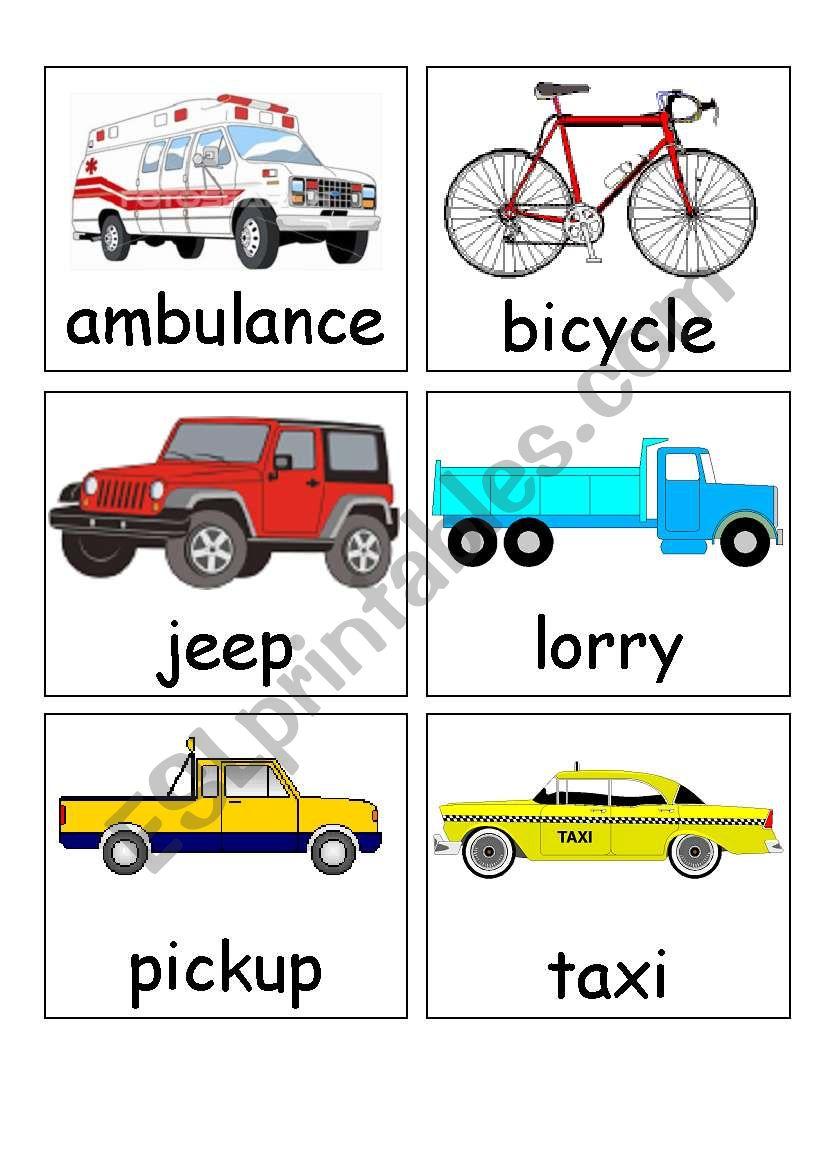 transport flash cards worksheet