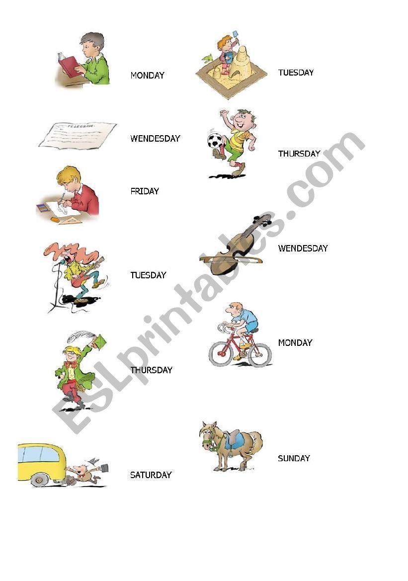 Days of the week esl activities