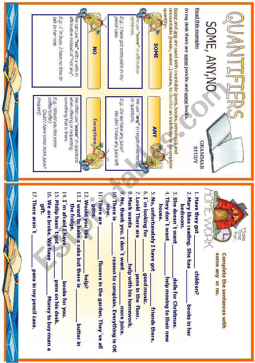 Quantifiers - some,any,no - Study sheet + homework