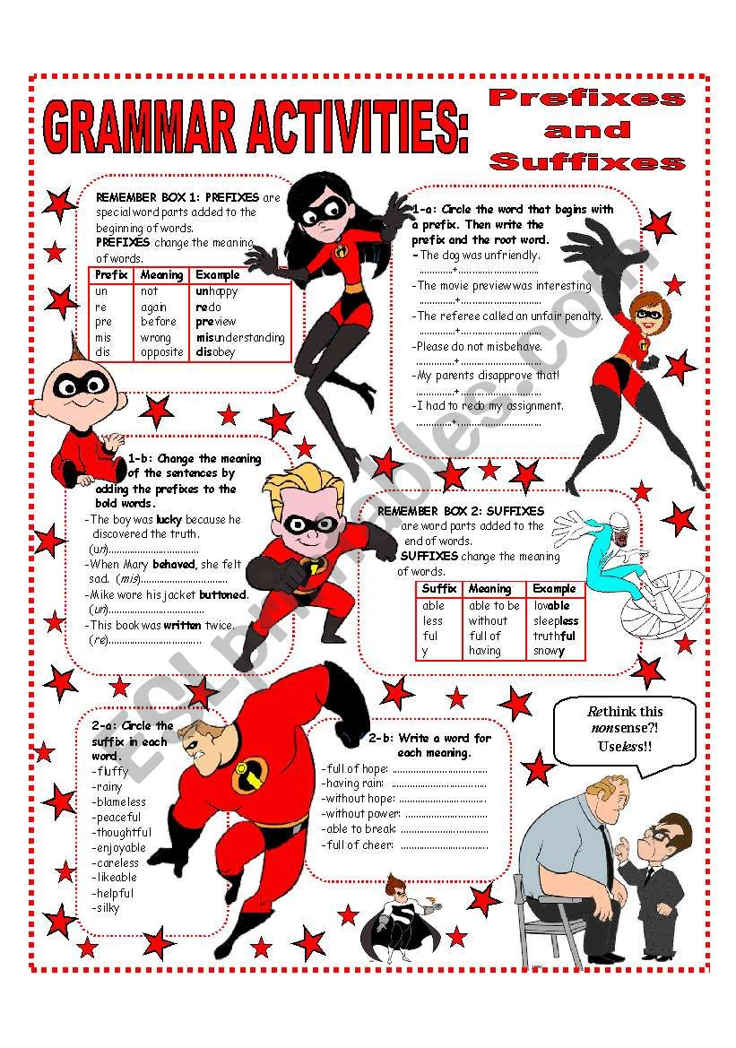 PREFIXES AND SUFFIXES - EASY GRAMMAR REFERENCE AND ACTIVITIES