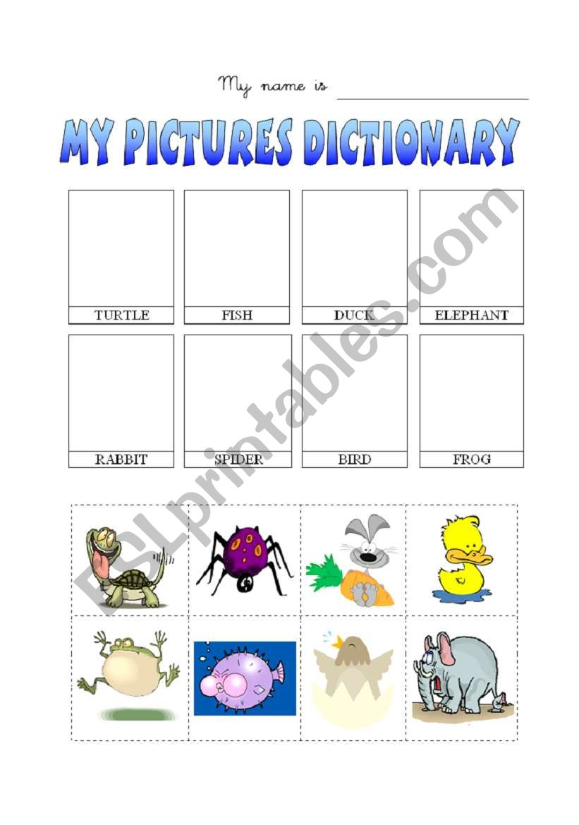 Animals-disctionary worksheet