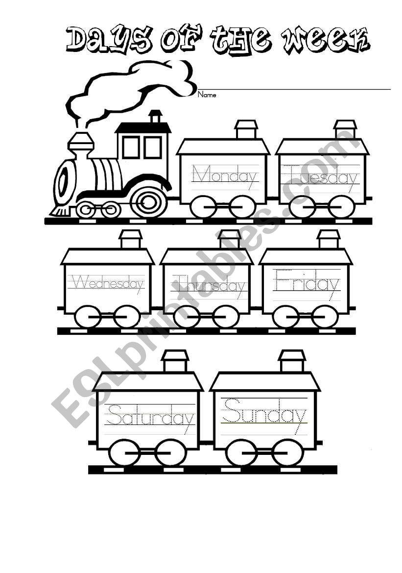 Week days train worksheet