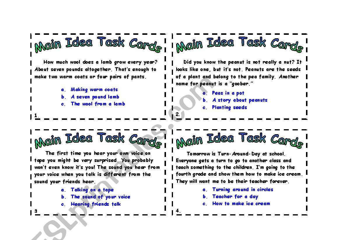 Main Idea cards worksheet