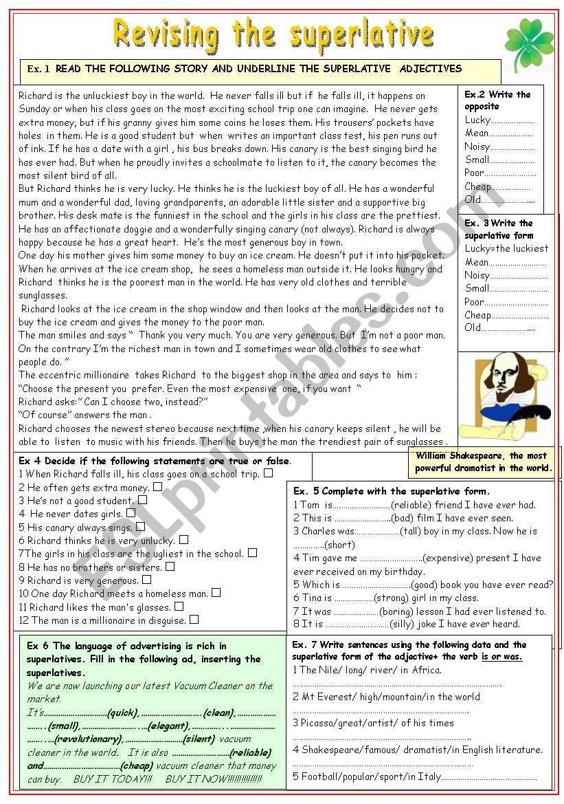 Revising the superlative worksheet