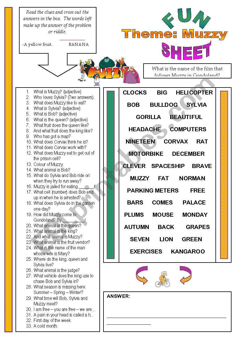Fun Sheet Theme: Muzzy worksheet