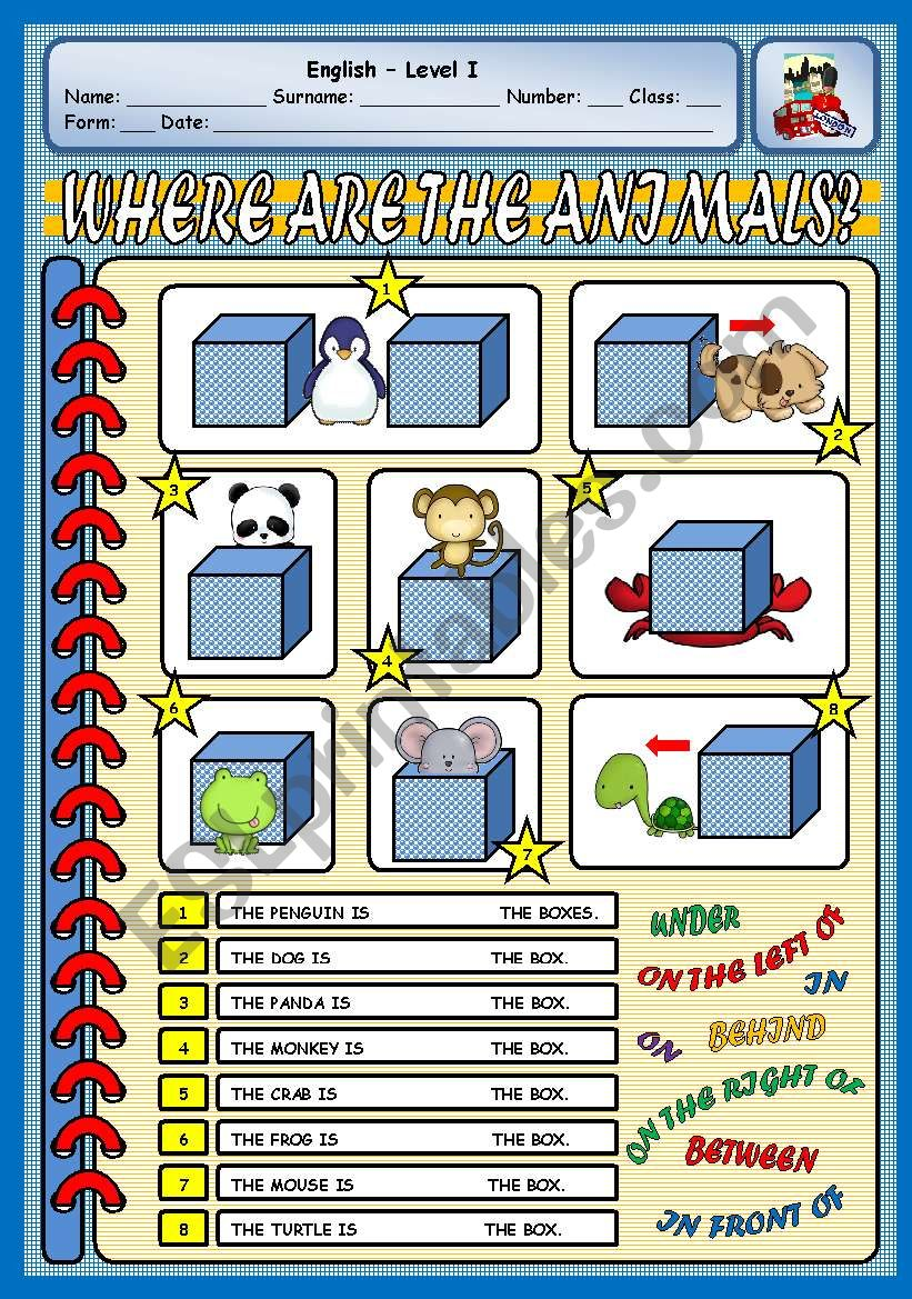 WHERE ARE THE ANIMALS? worksheet