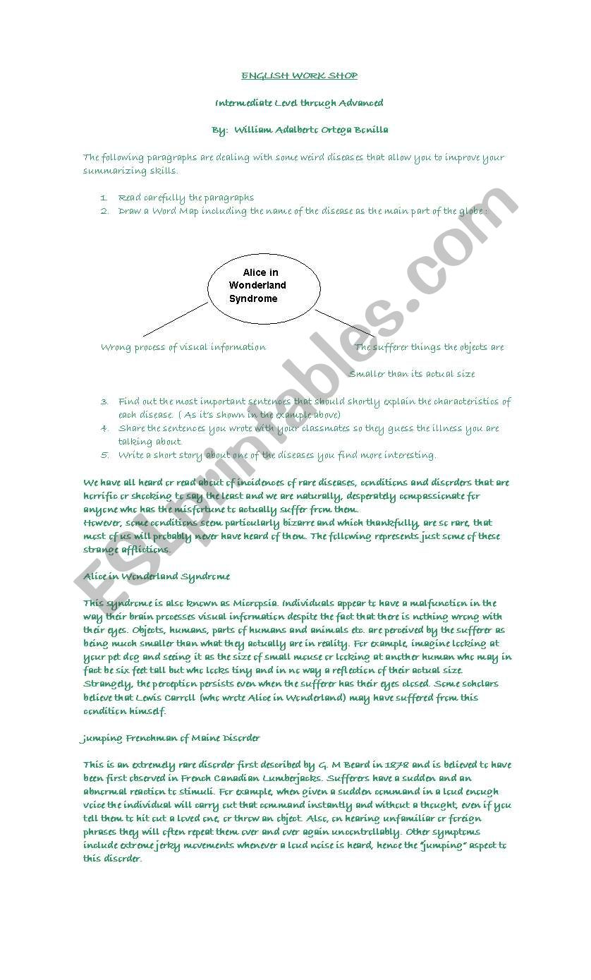 SUMMARIZING SKILL WORKSHOP worksheet