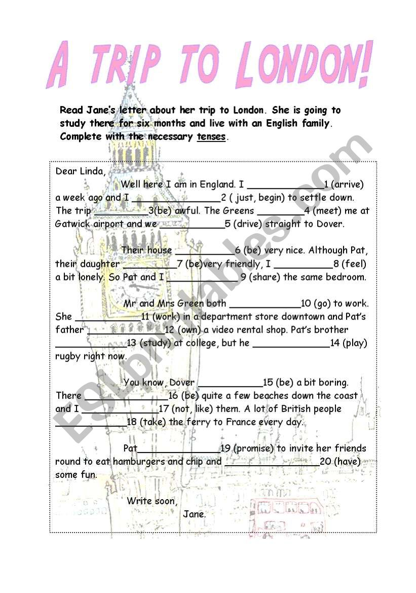 A trip to London! worksheet