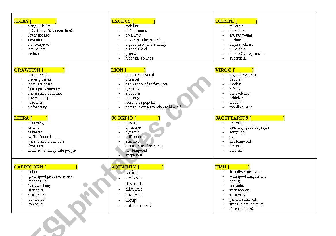 Zodiacal Signs worksheet