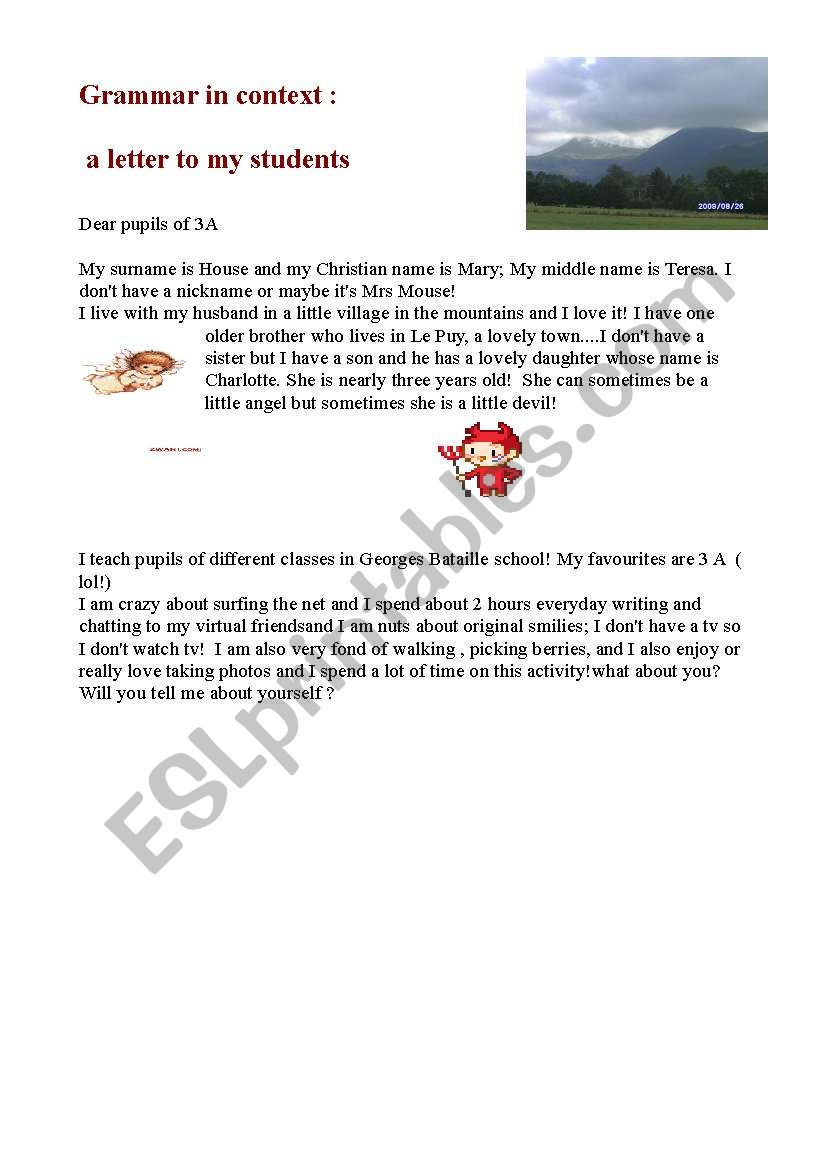 letter from me to my pupils! worksheet