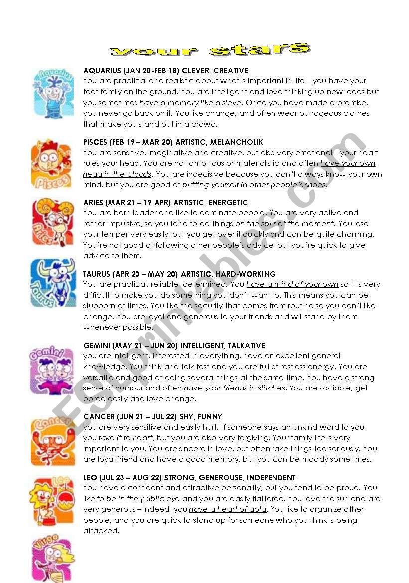 the horoskope!!! - ESL worksheet by masha_incierta