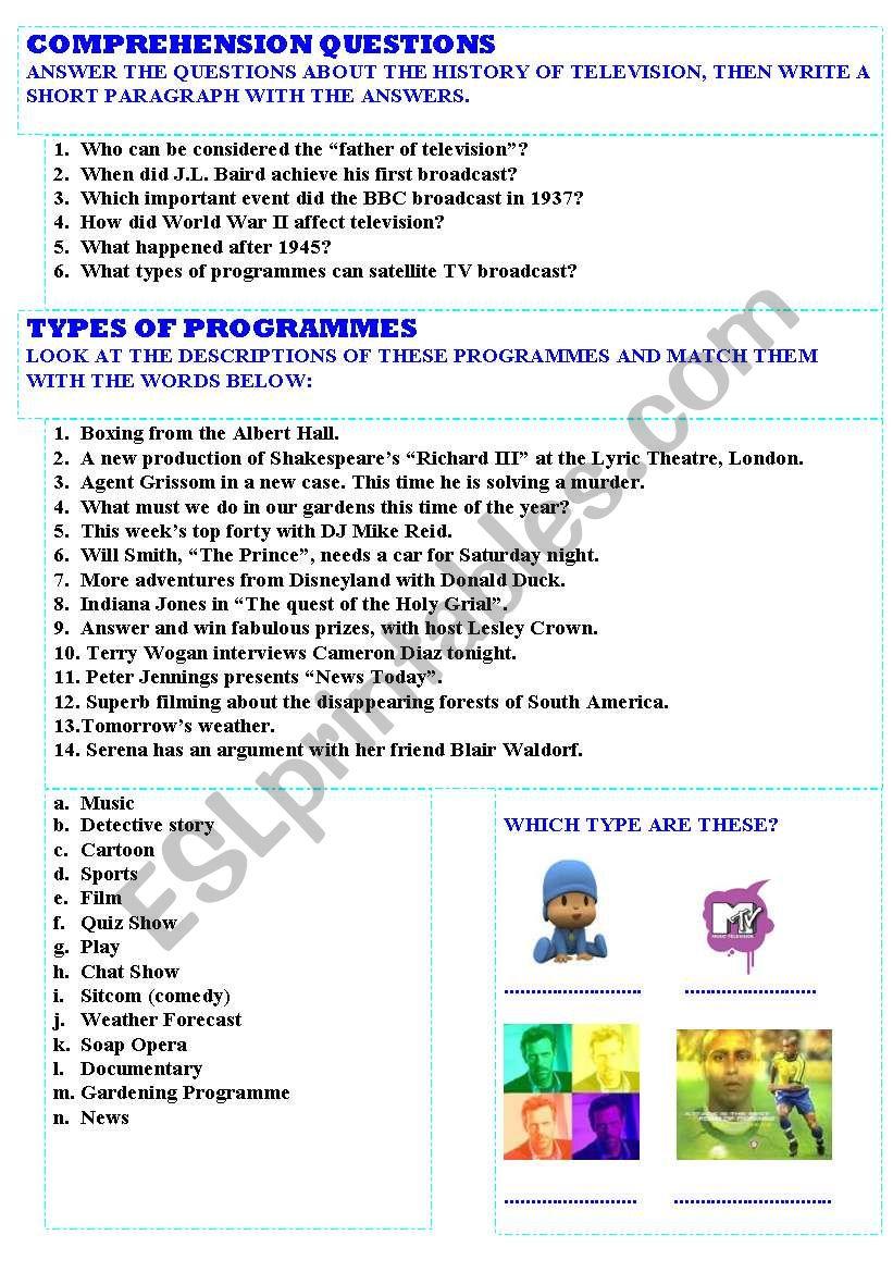 Reading Comprehension: Television - ESL worksheet by encarnara