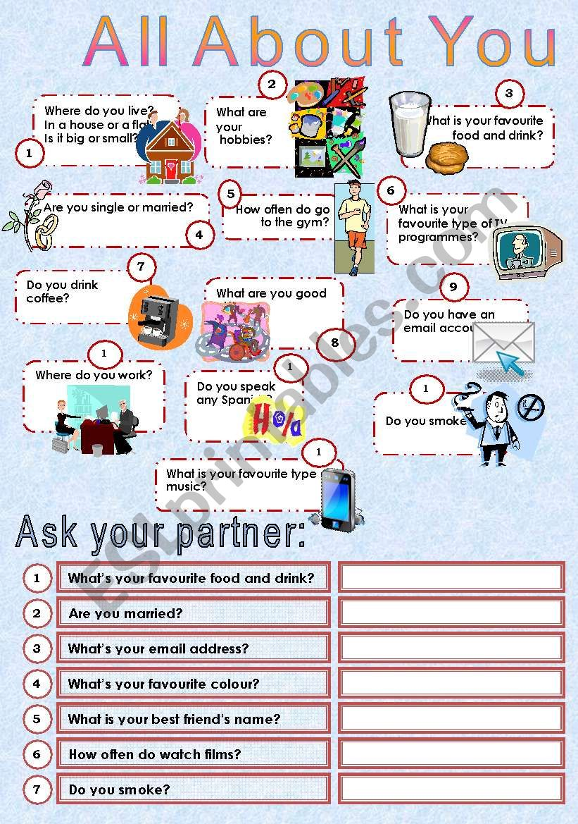 All About You Esl Worksheet By Ju Madeiro