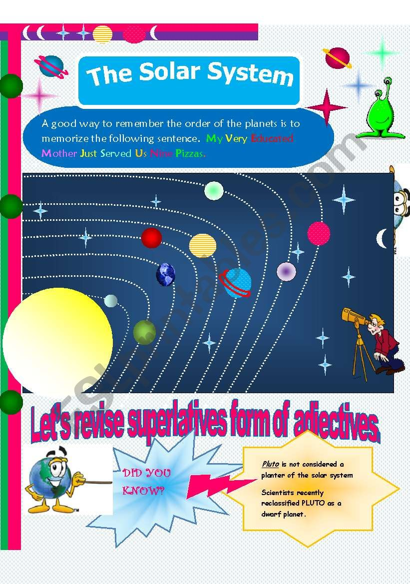 The solar system. How much do you know about it?. In this serie: SUPERLATIVE FORM OF ADJECTIVES // 6 pages (editable)