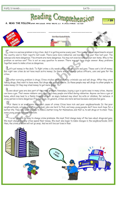 READING COMPREHENSION TEST worksheet