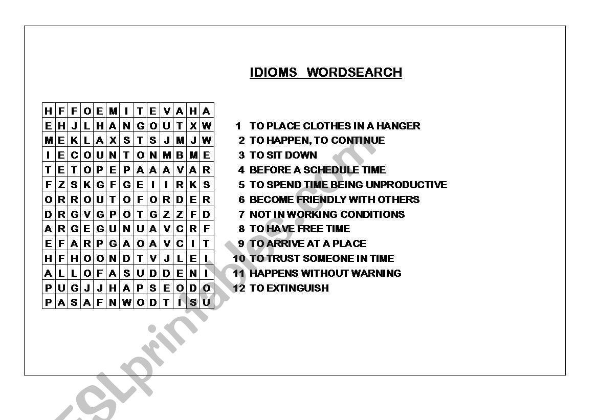 IDIOMS WORDSEACH worksheet