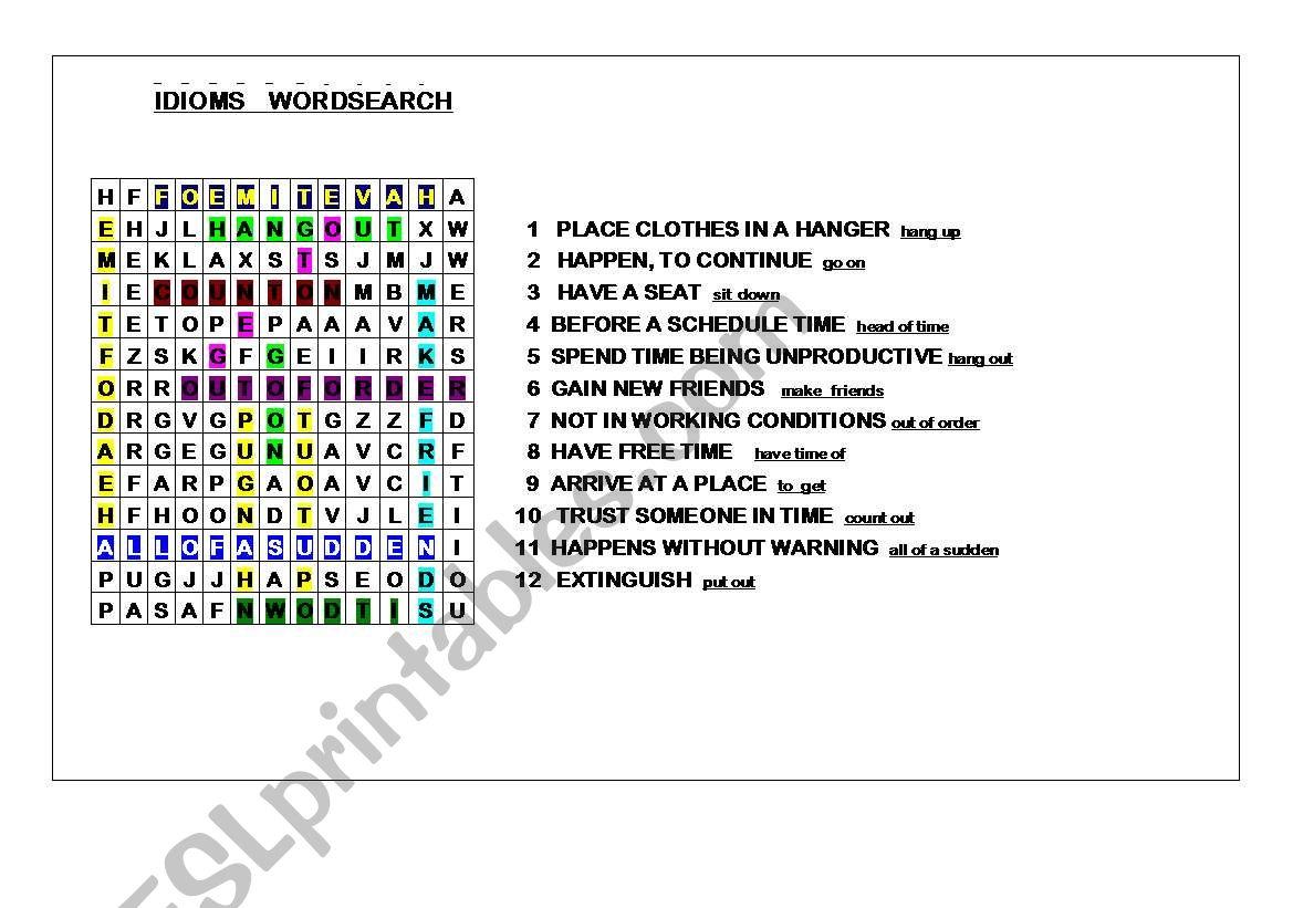 IDIOMS WORDSEARCH  ANSWER KEY worksheet