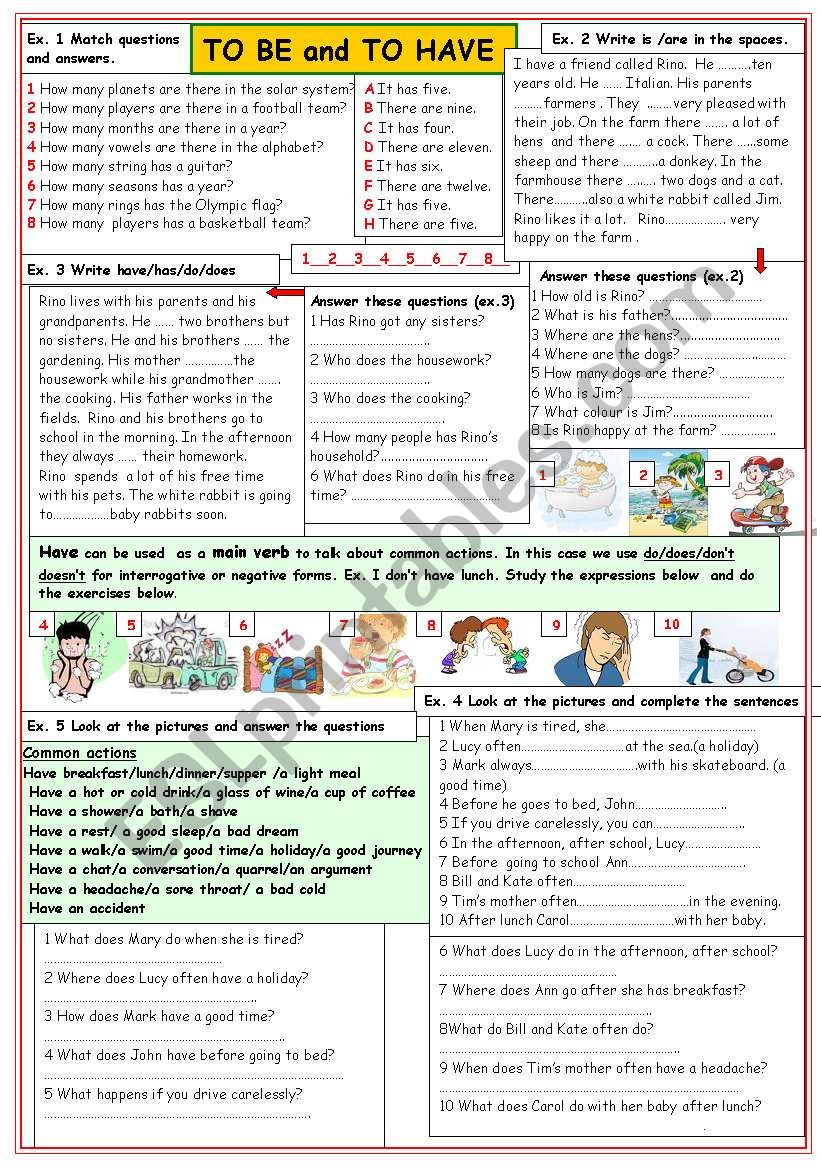 To be and To have worksheet