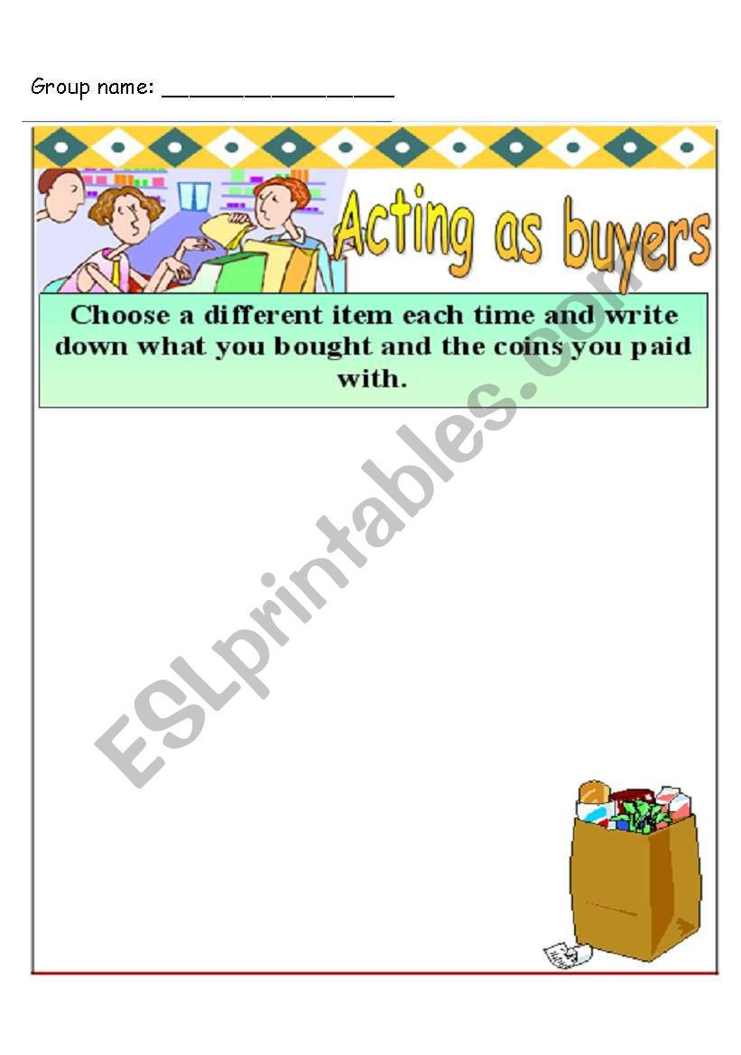 English worksheets: Acting as buyers!!