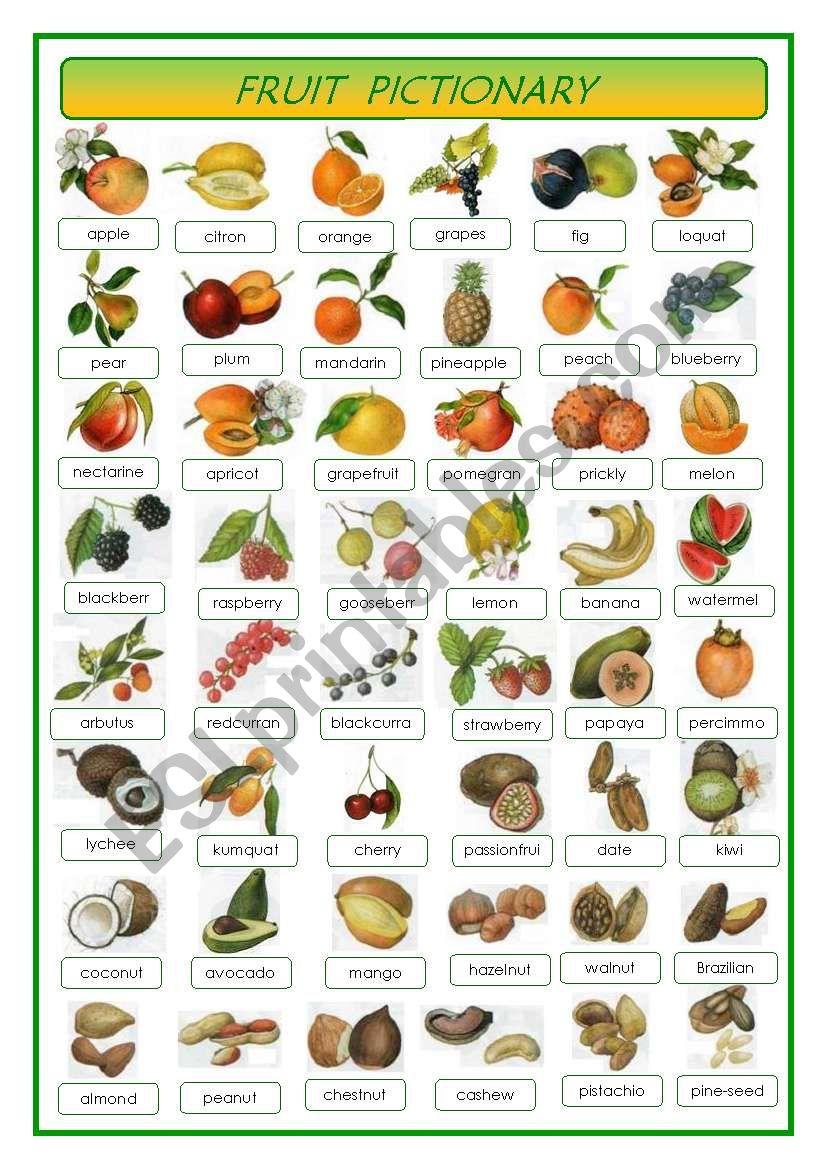 Fruit - pictionary worksheet