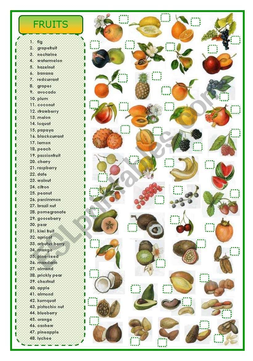 Fruits - matching exercise worksheet
