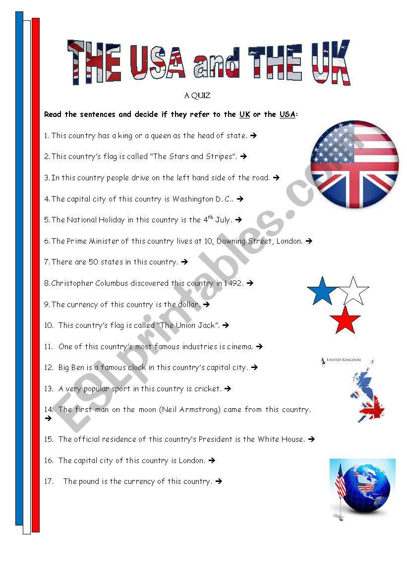 Th Usa and Uk - quiz 1 worksheet