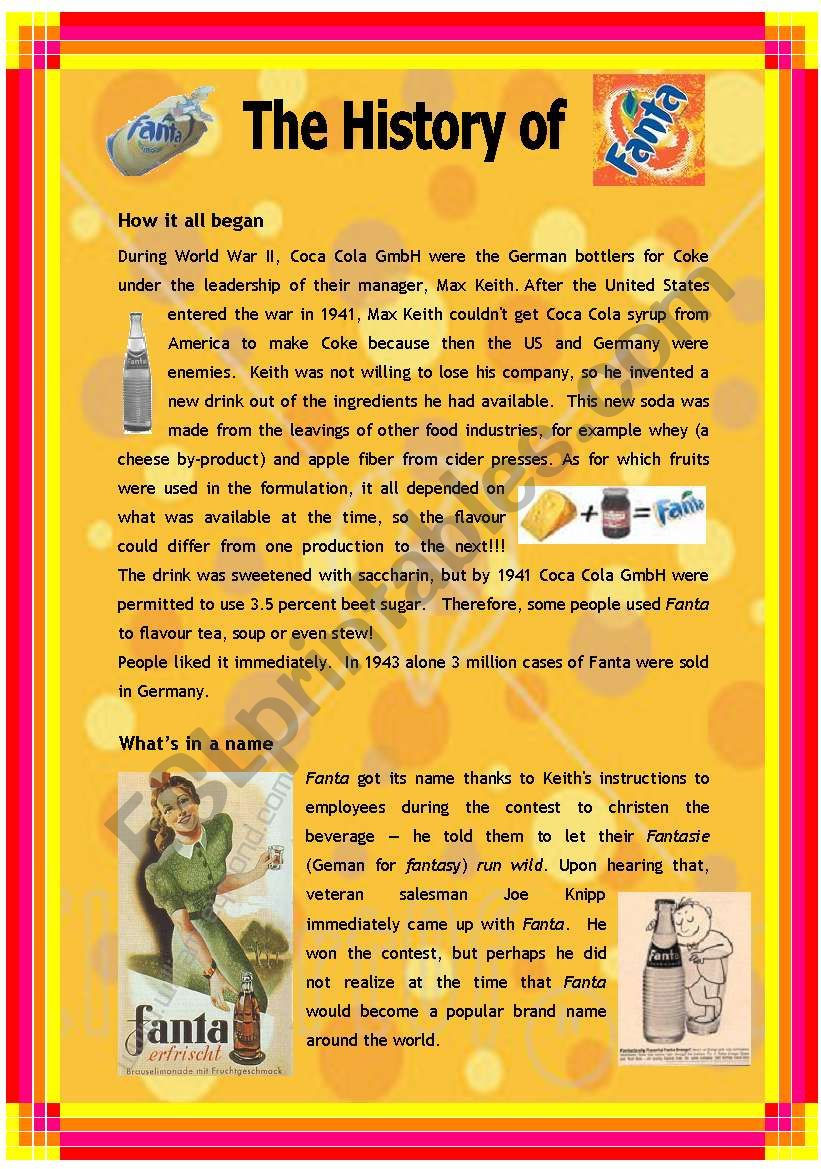 The History of Fanta - 2 pages
