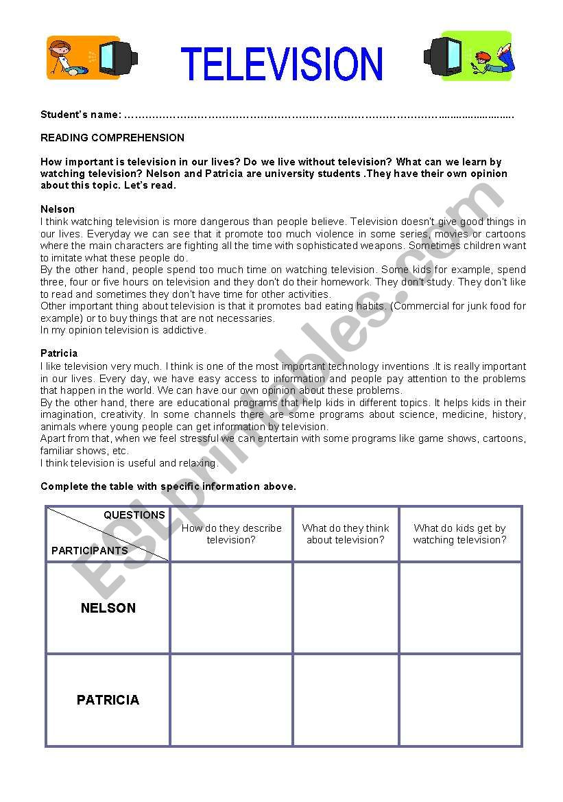 Television worksheet