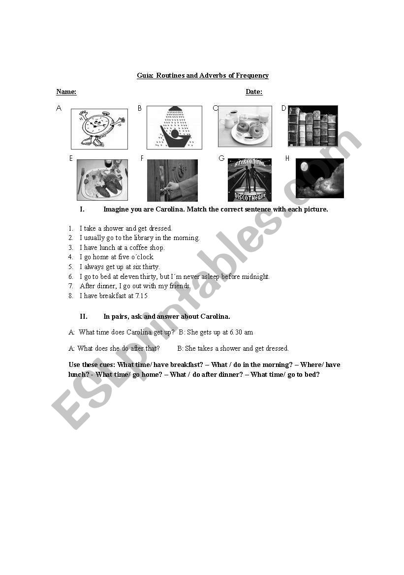 Adverbs of Frequency handout worksheet