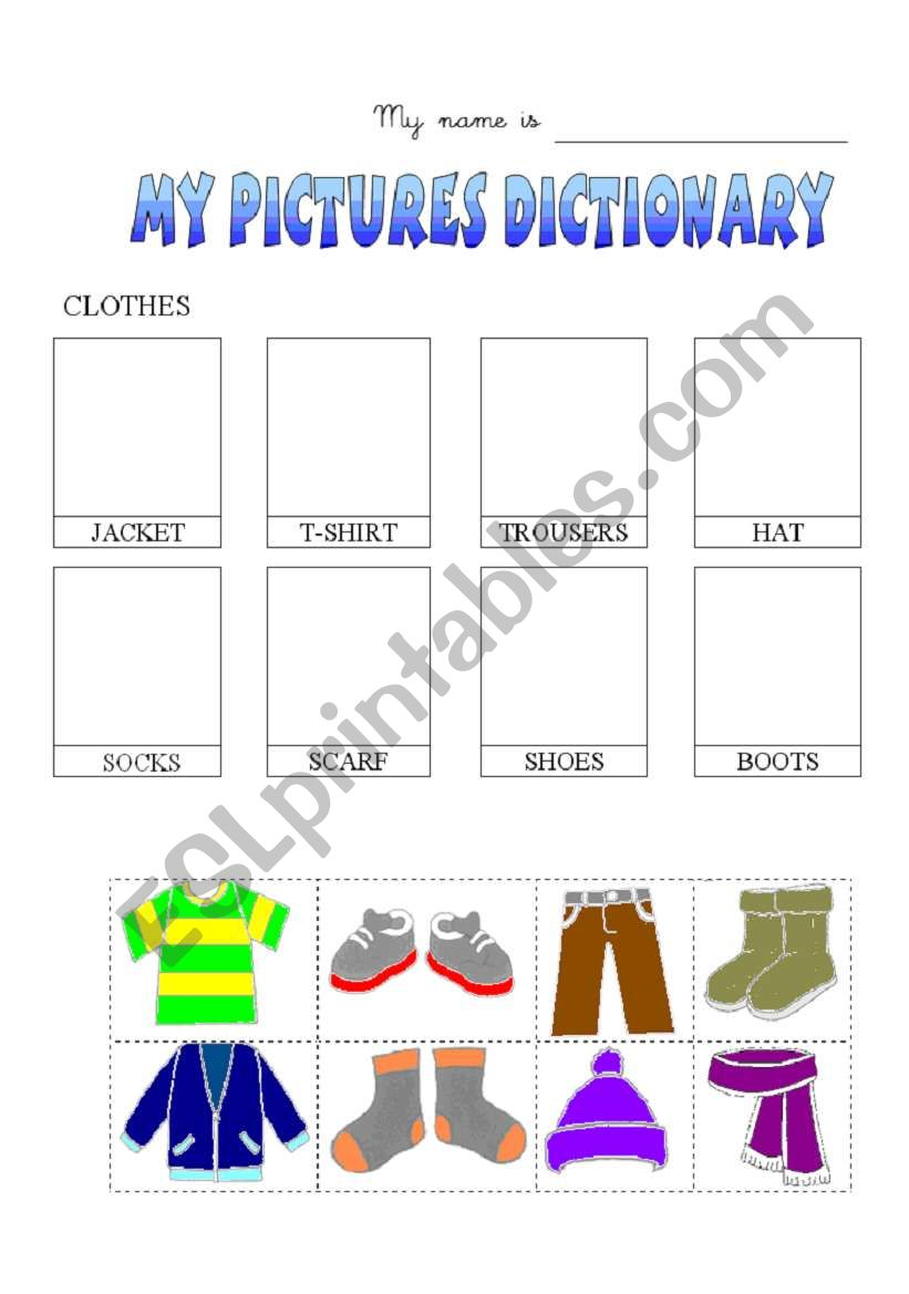 Clothes-dictionary worksheet
