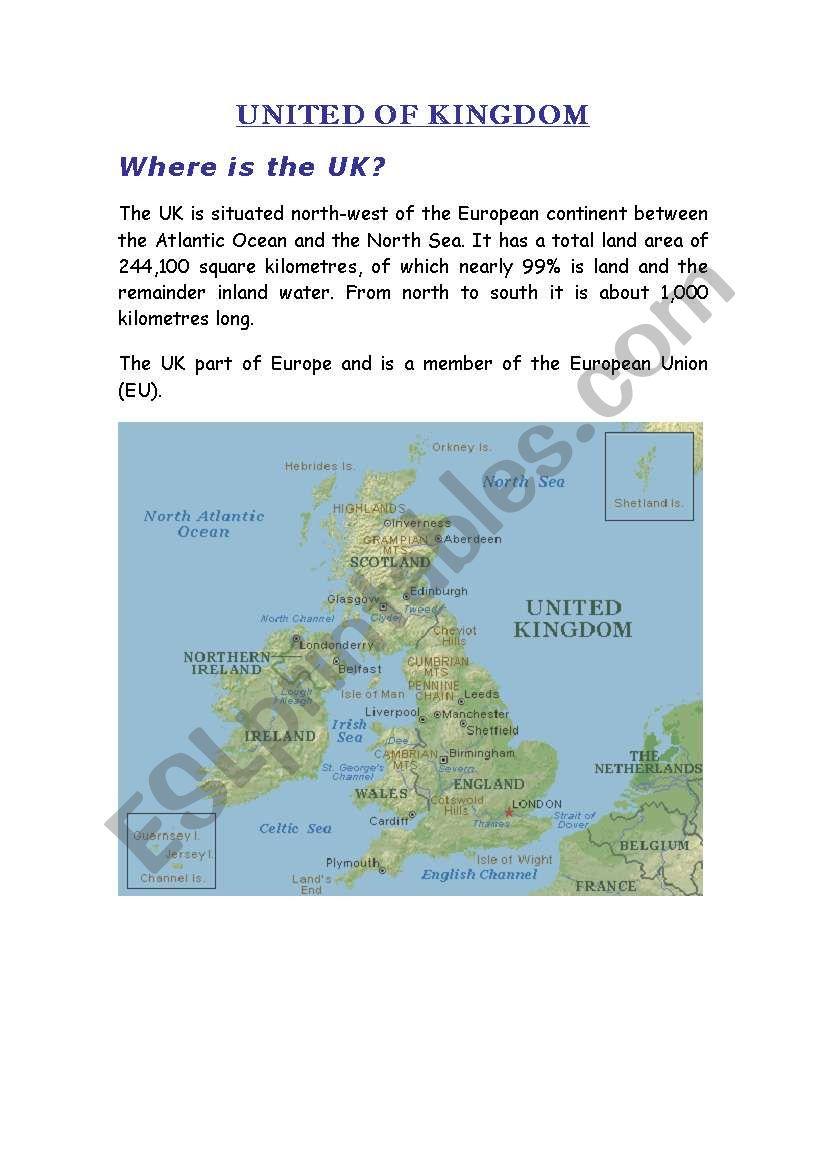 United of Kingdom worksheet