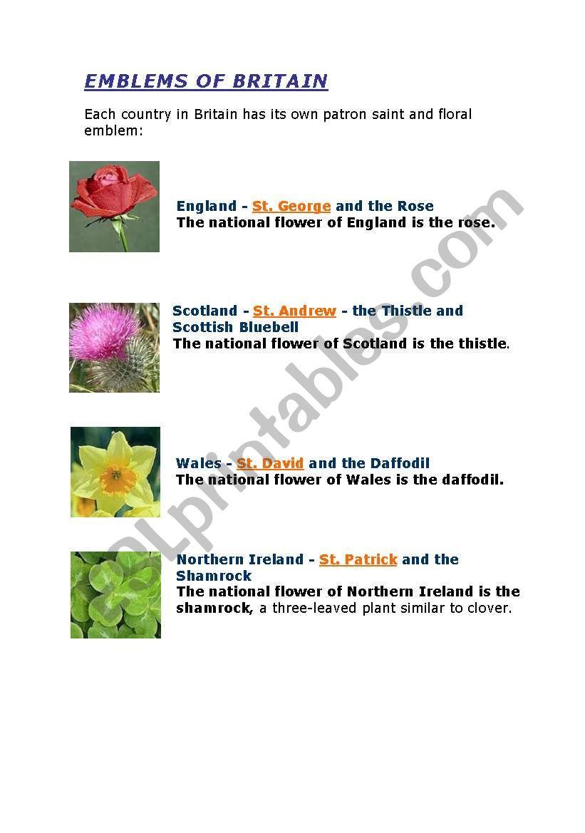 U.K (emblems of Britain) worksheet
