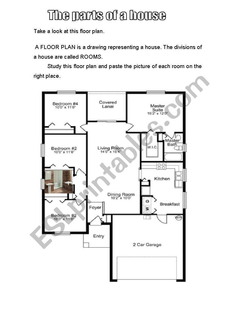 The Floor Plan And Parts Of A House Esl Worksheet By Marcia Luiza