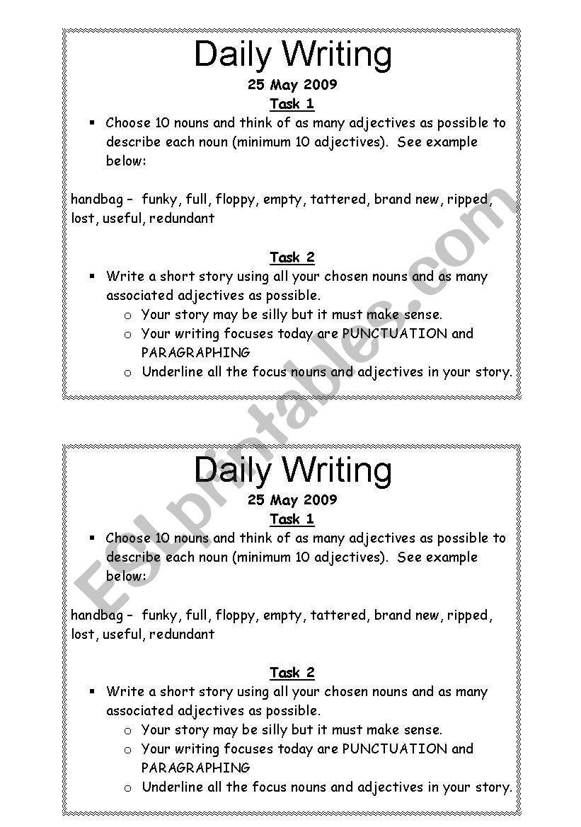 daily writing task worksheet