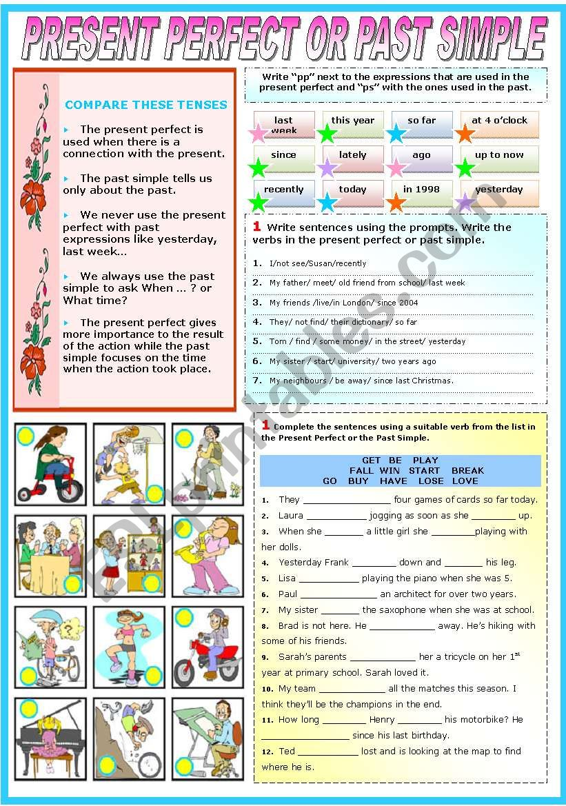 PRESENT PERFECT OR PAST SIMPLE (TWO PAGES)